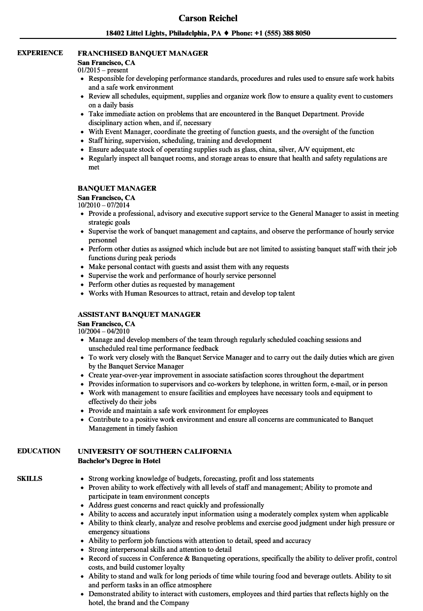 Nice Velvet Jobs On Banquet Manager Resume