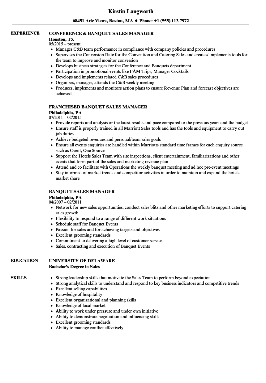 Download Banquet Sales Manager Resume Sample As Image File  Banquet Manager Resume