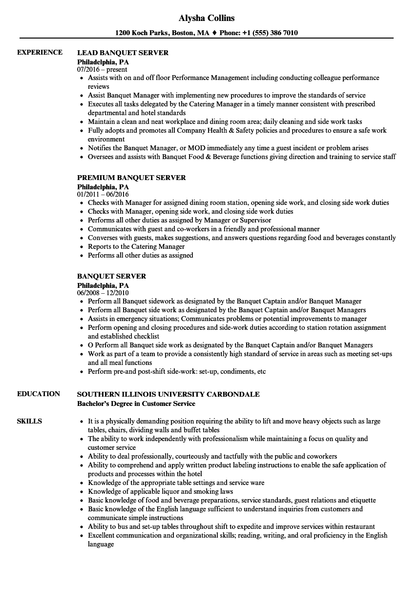 Velvet Jobs  Banquet Server Resume