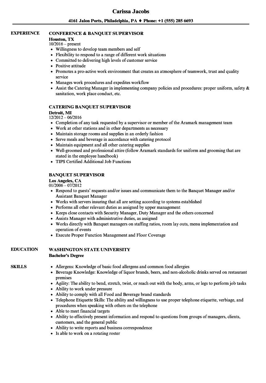 Download Banquet Supervisor Resume Sample As Image File