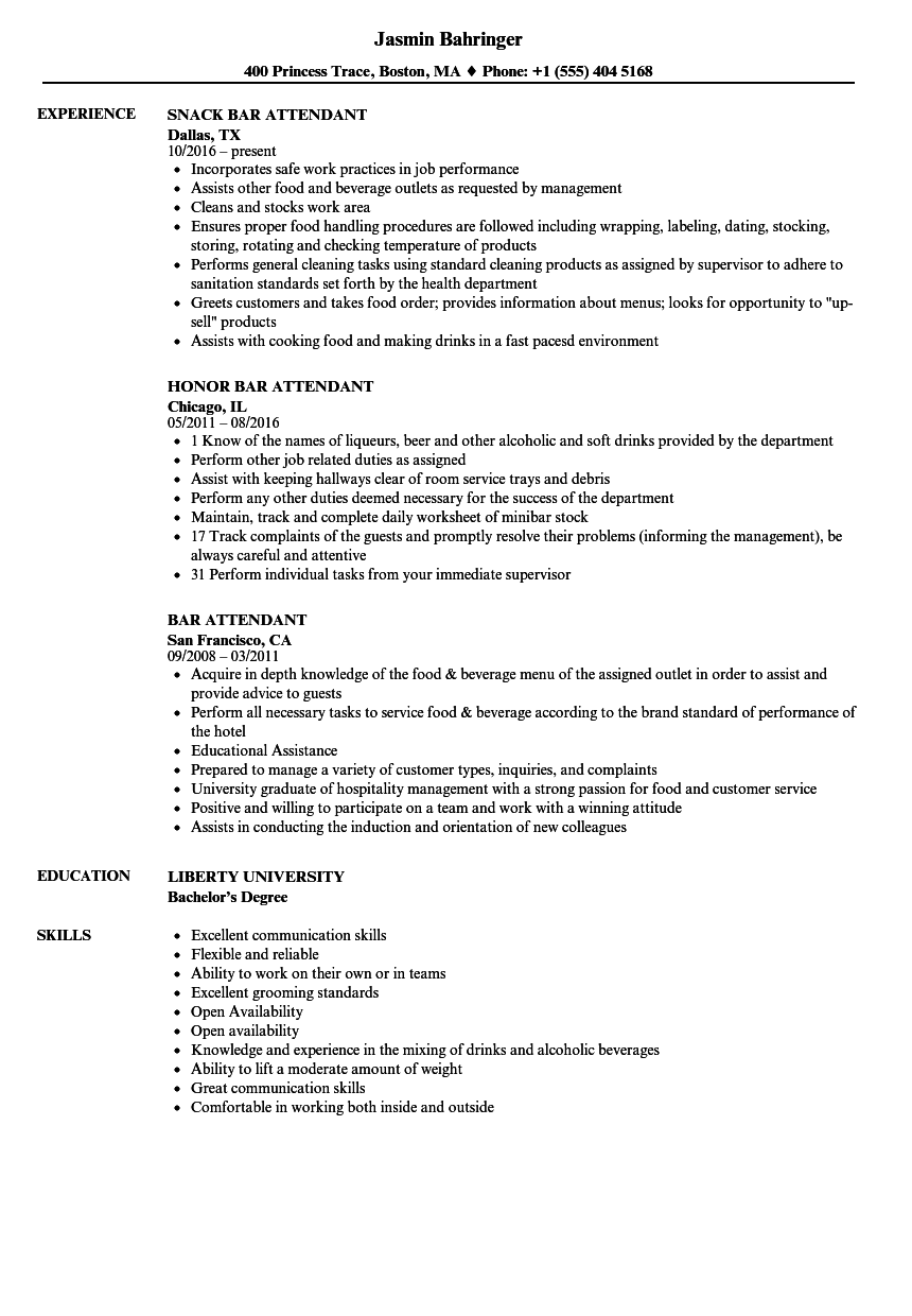 Bar Attendant Resume Samples | Velvet Jobs