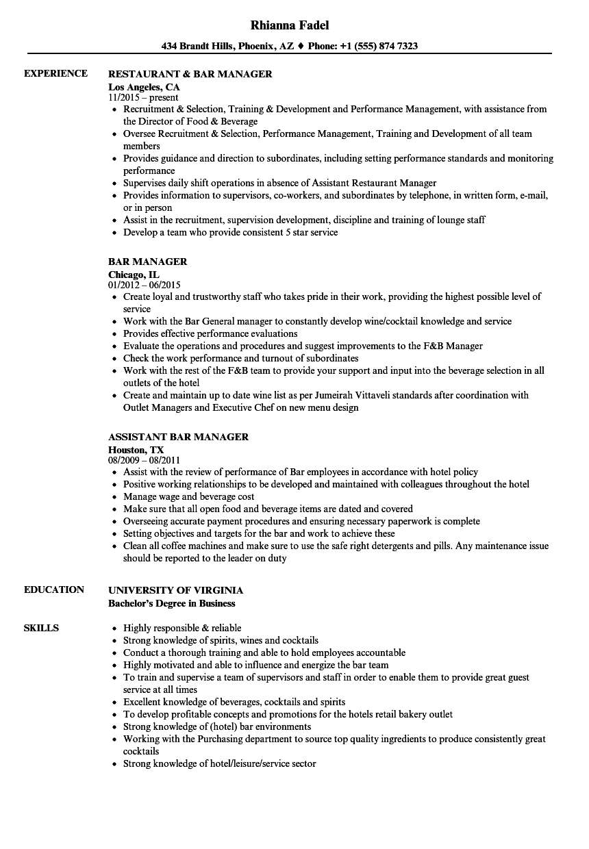 bar manager resume samples velvet jobs