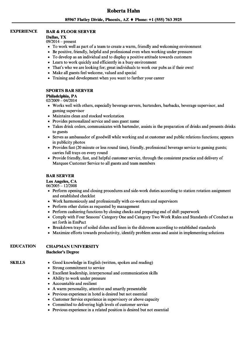 Sample Resume Server | Bar Server Resume Samples Velvet Jobs