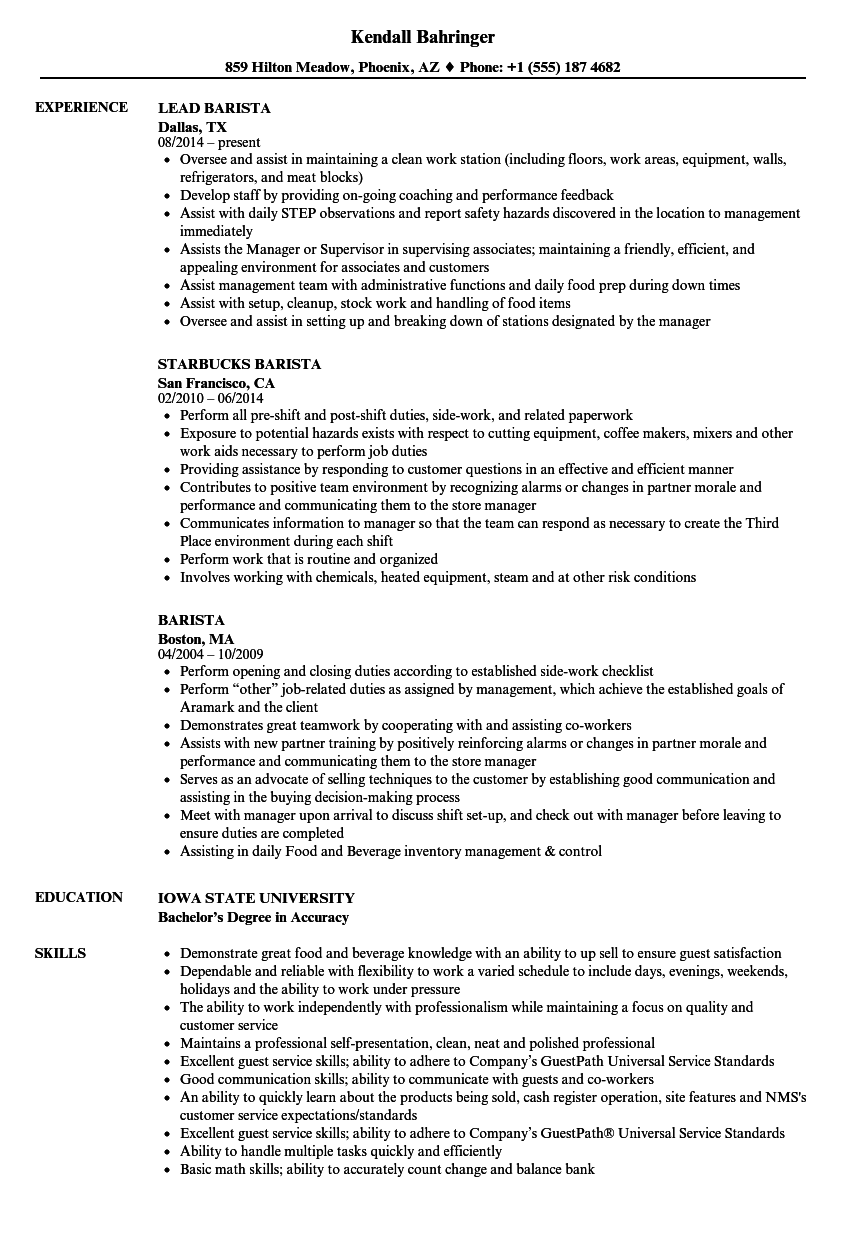 Velvet Jobs  Barista Resume Example
