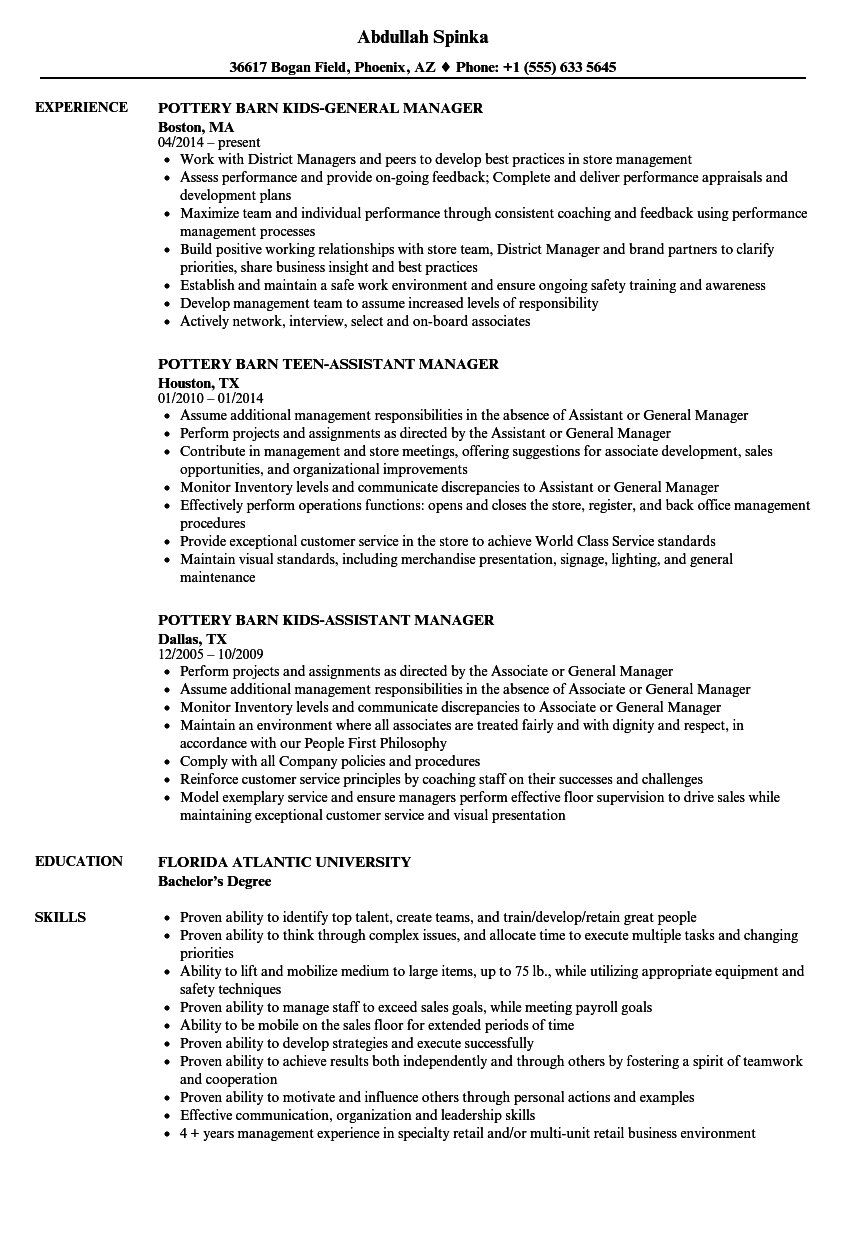barn manager resume samples