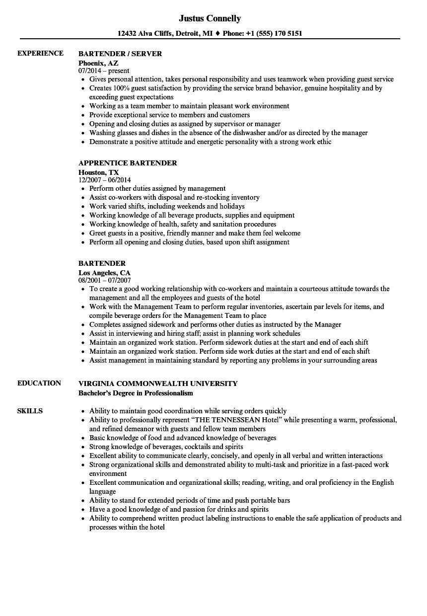 Bartender Resume Samples Velvet Jobs