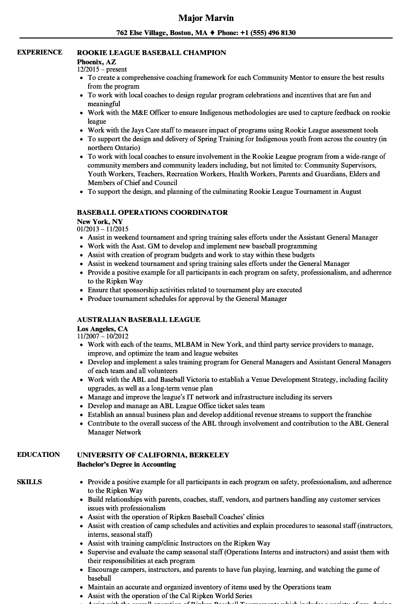 Download Baseball Resume Sample As Image File
