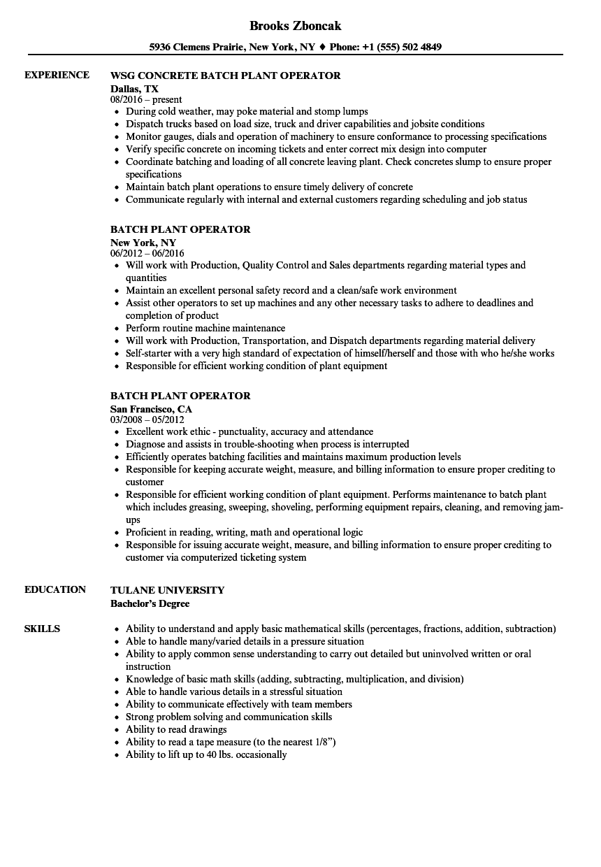 Batch Plant Operator Resume Samples Velvet Jobs