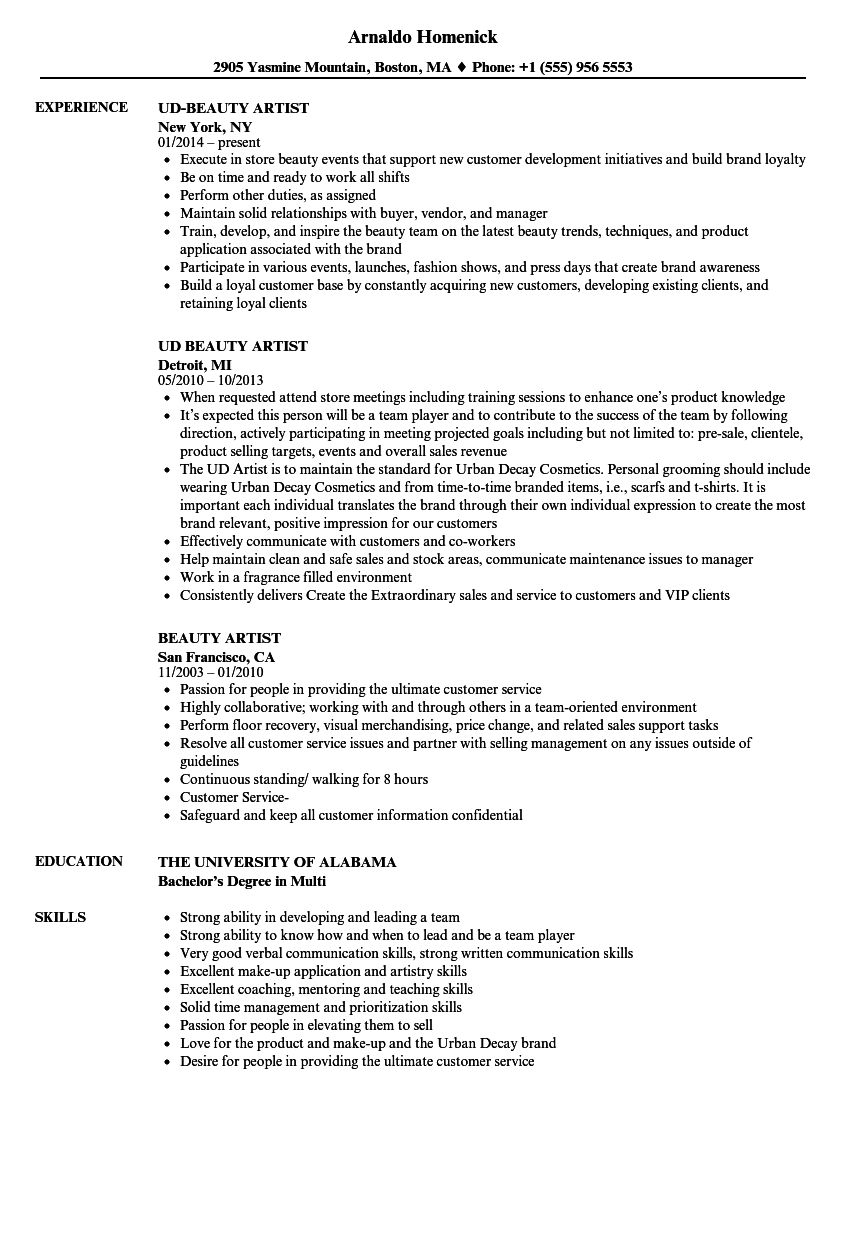 Beauty Artist Resume Samples | Velvet Jobs