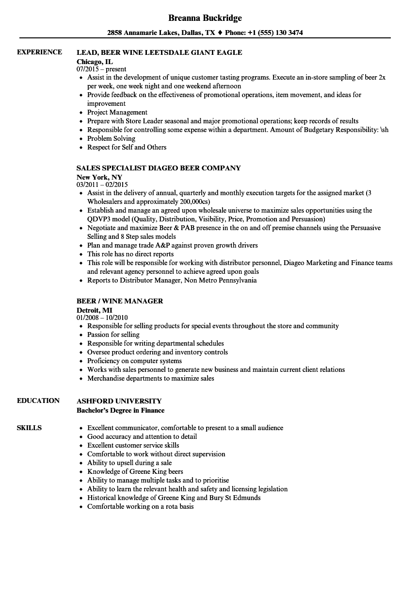 download beer resume sample as image file - Licensing Specialist Sample Resume