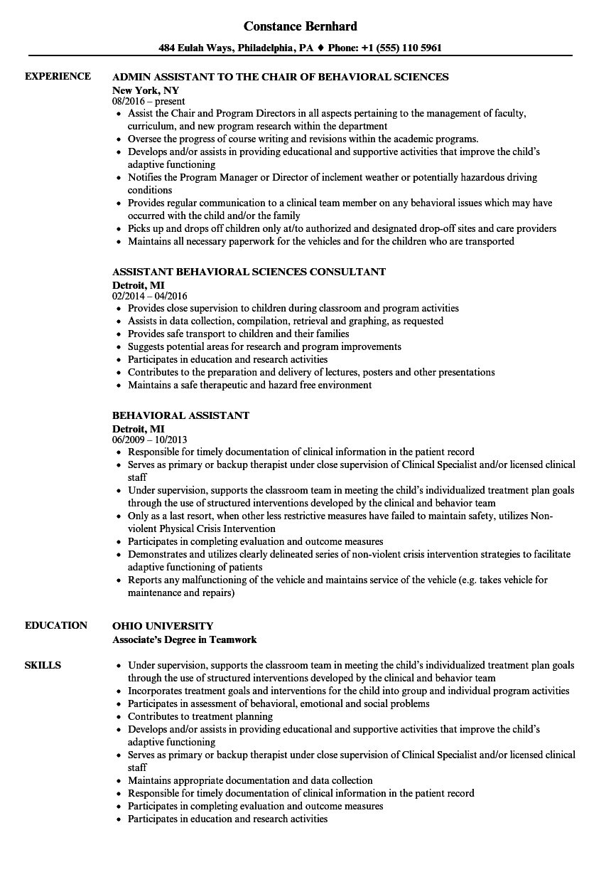 behavioral assistant resume samples