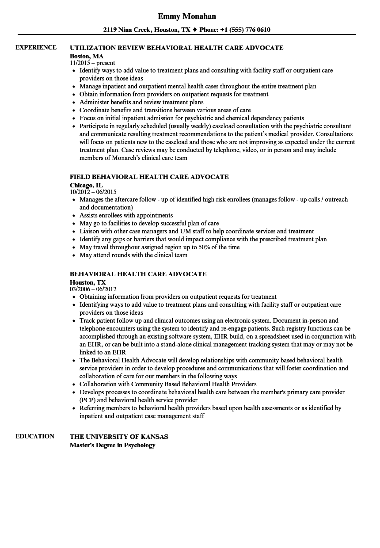 Behavioral Health Care Advocate Resume Samples Velvet Jobs