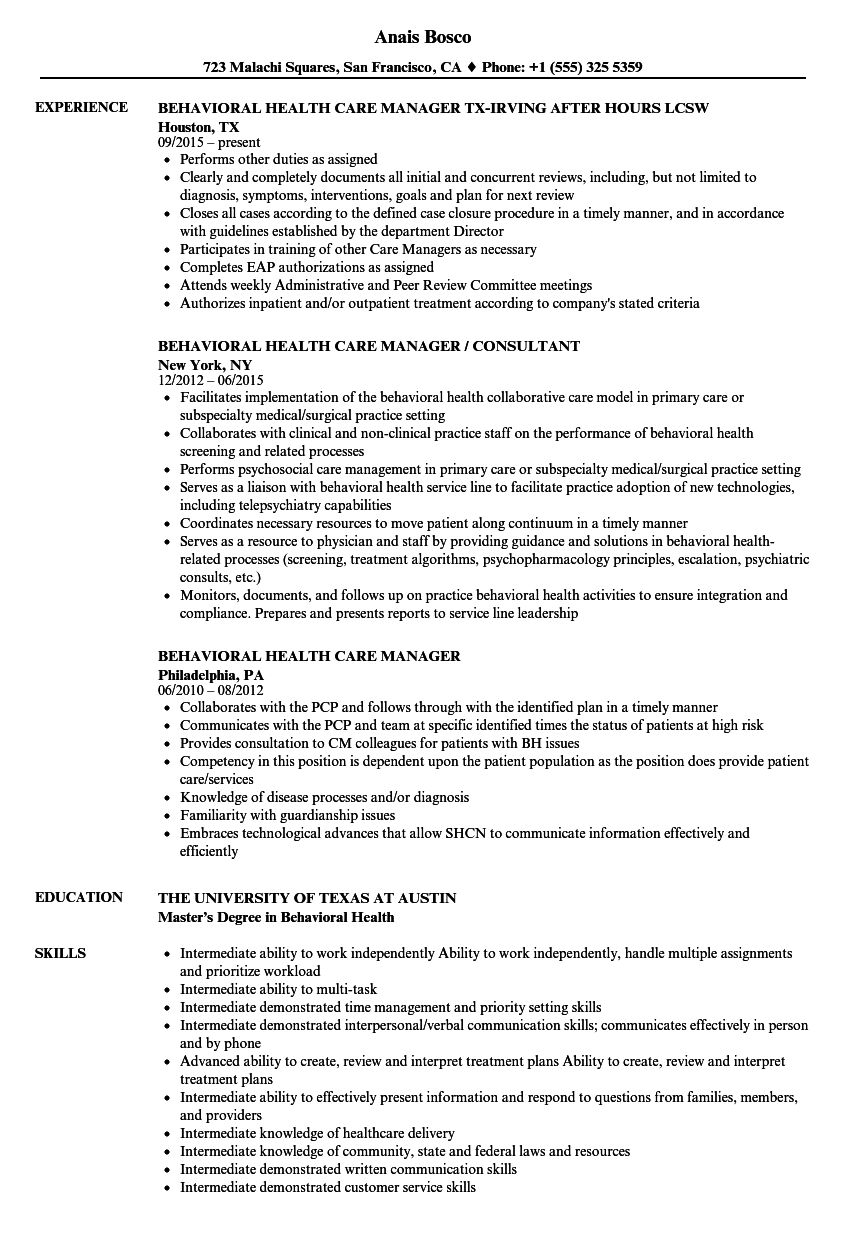 Behavioral Health Care Manager Resume Samples | Velvet Jobs