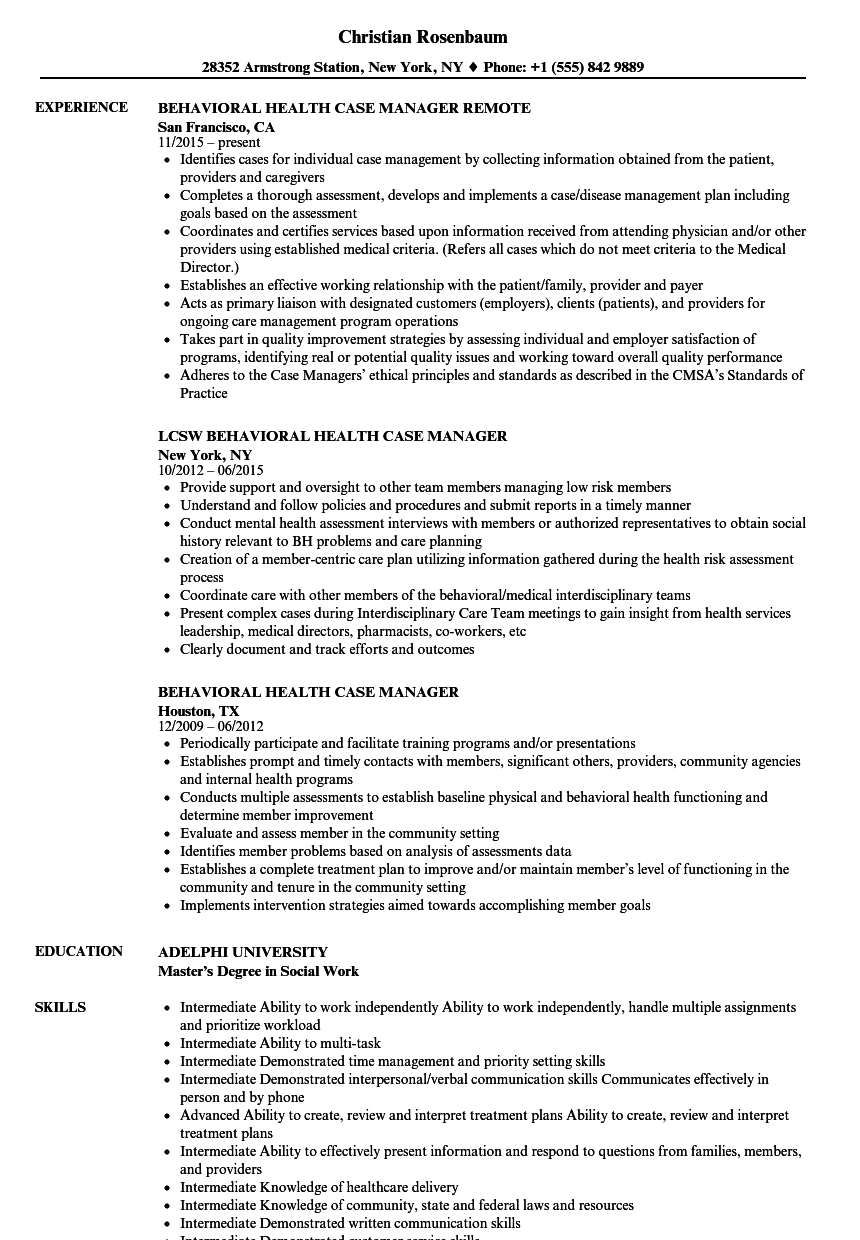 Behavioral Health Case Manager Resume Samples Velvet Jobs
