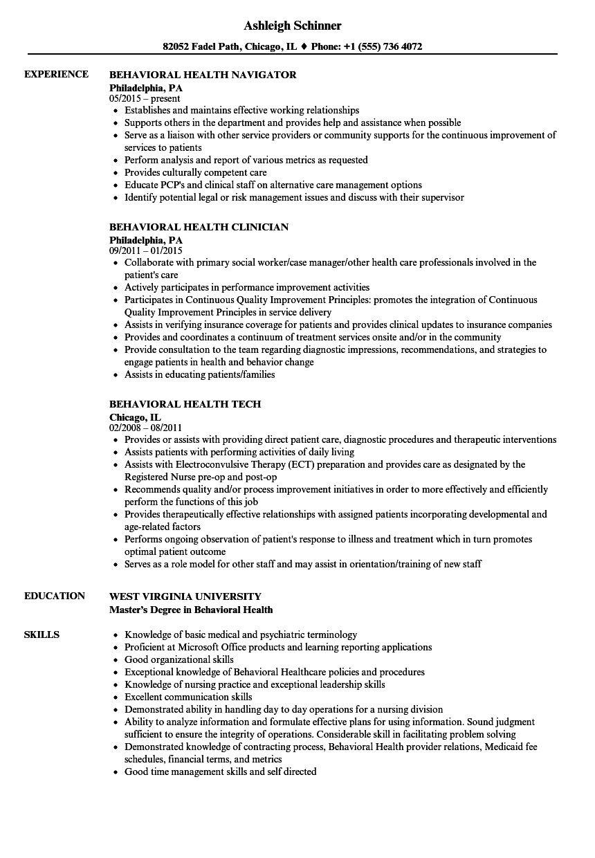 behavioral health resume samples