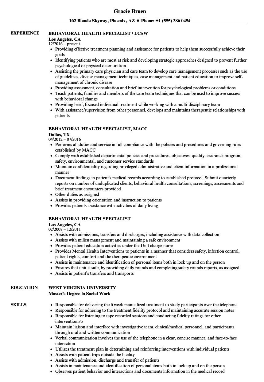 Behavioral Health Specialist Resume Samples | Velvet Jobs