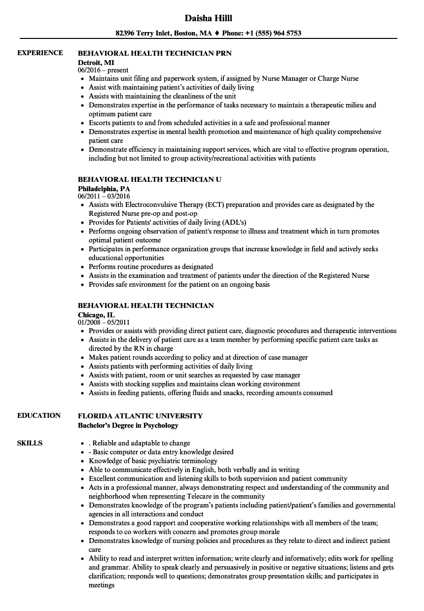 behavioral health technician resume samples