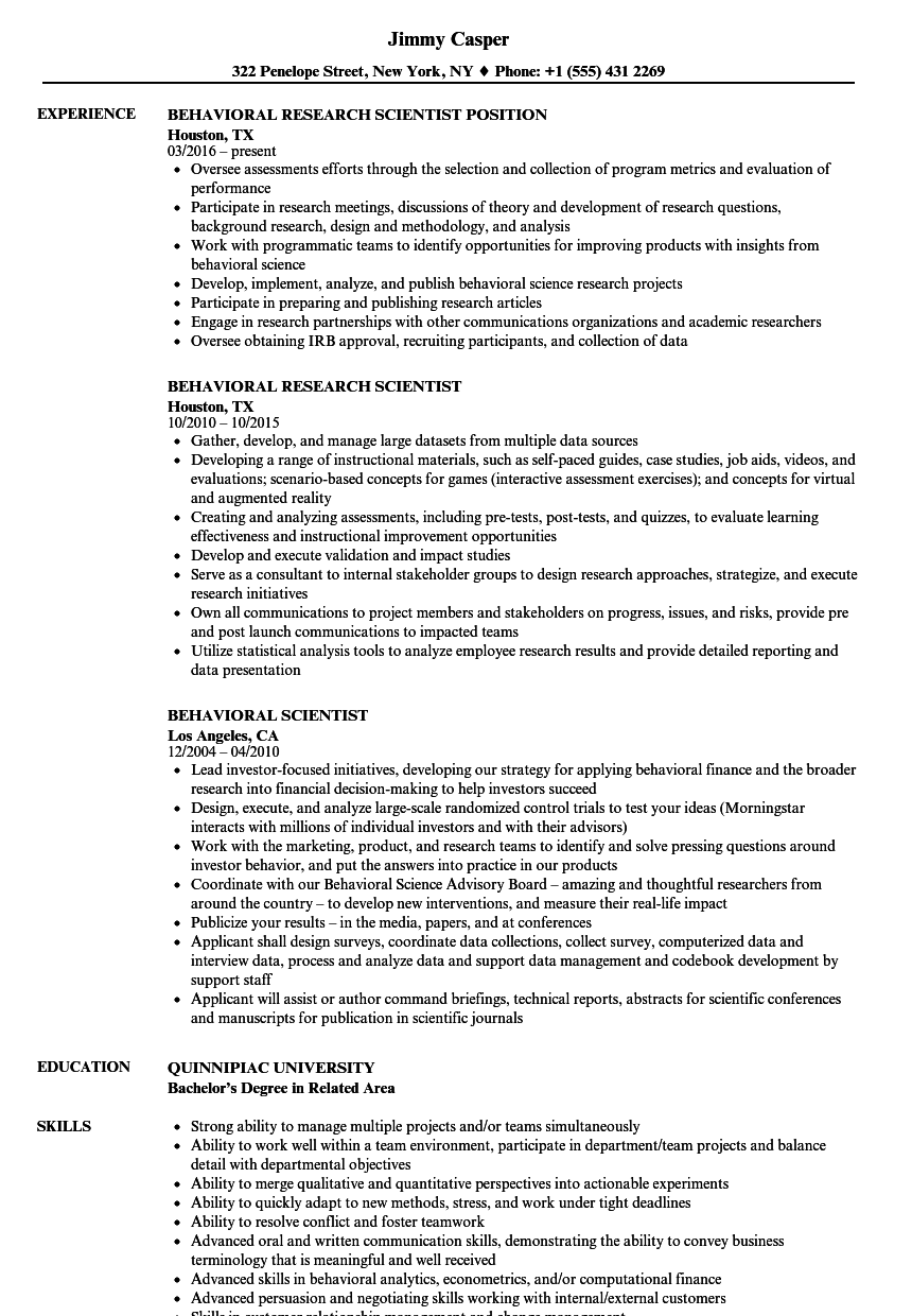 behavioral scientist resume samples