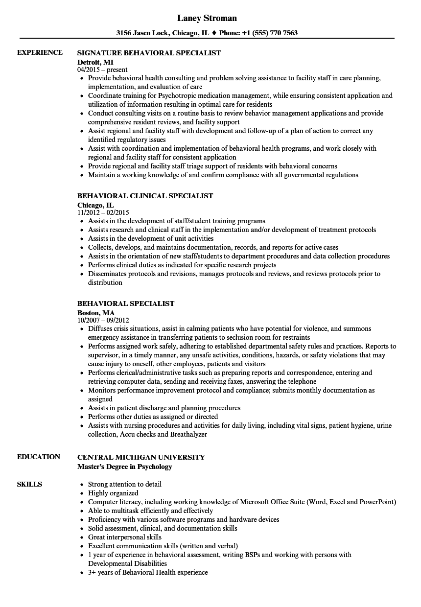 Behavioral Specialist Resume Samples   Velvet Jobs
