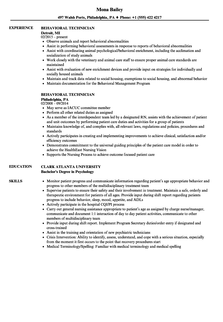 Behavioral Technician Resume Samples | Velvet Jobs