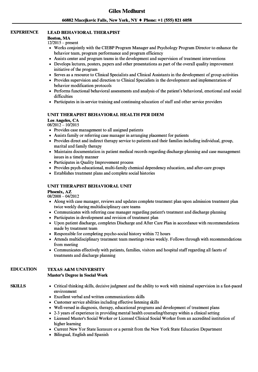 behavioral therapist resume samples