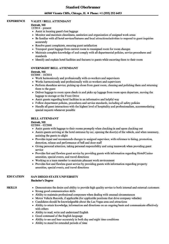 Bell Attendant Resume Samples | Velvet Jobs