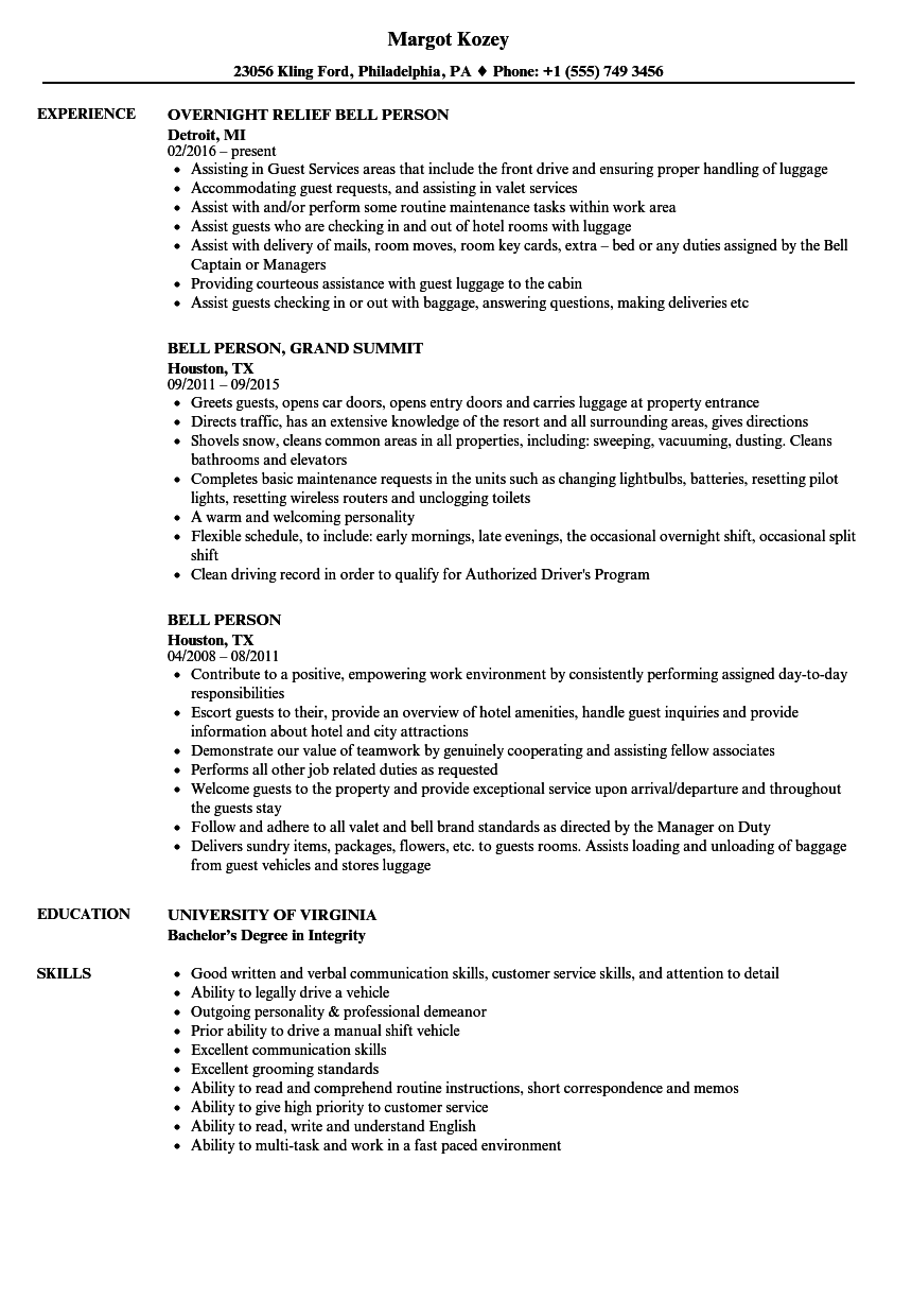 bell person resume samples