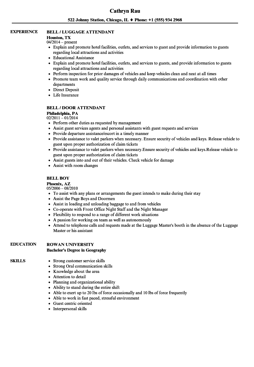 Bell Resume Samples Velvet Jobs