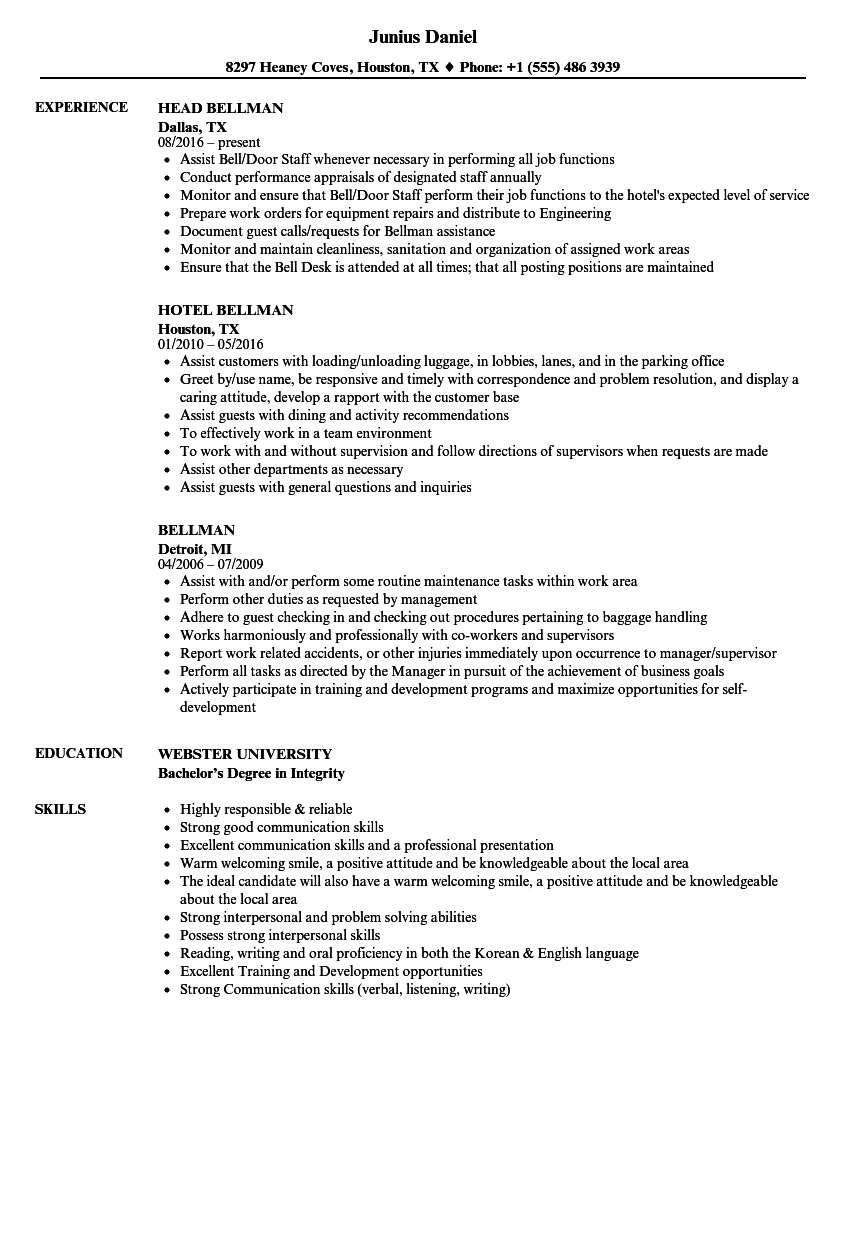 Bellman Resume Samples Velvet Jobs