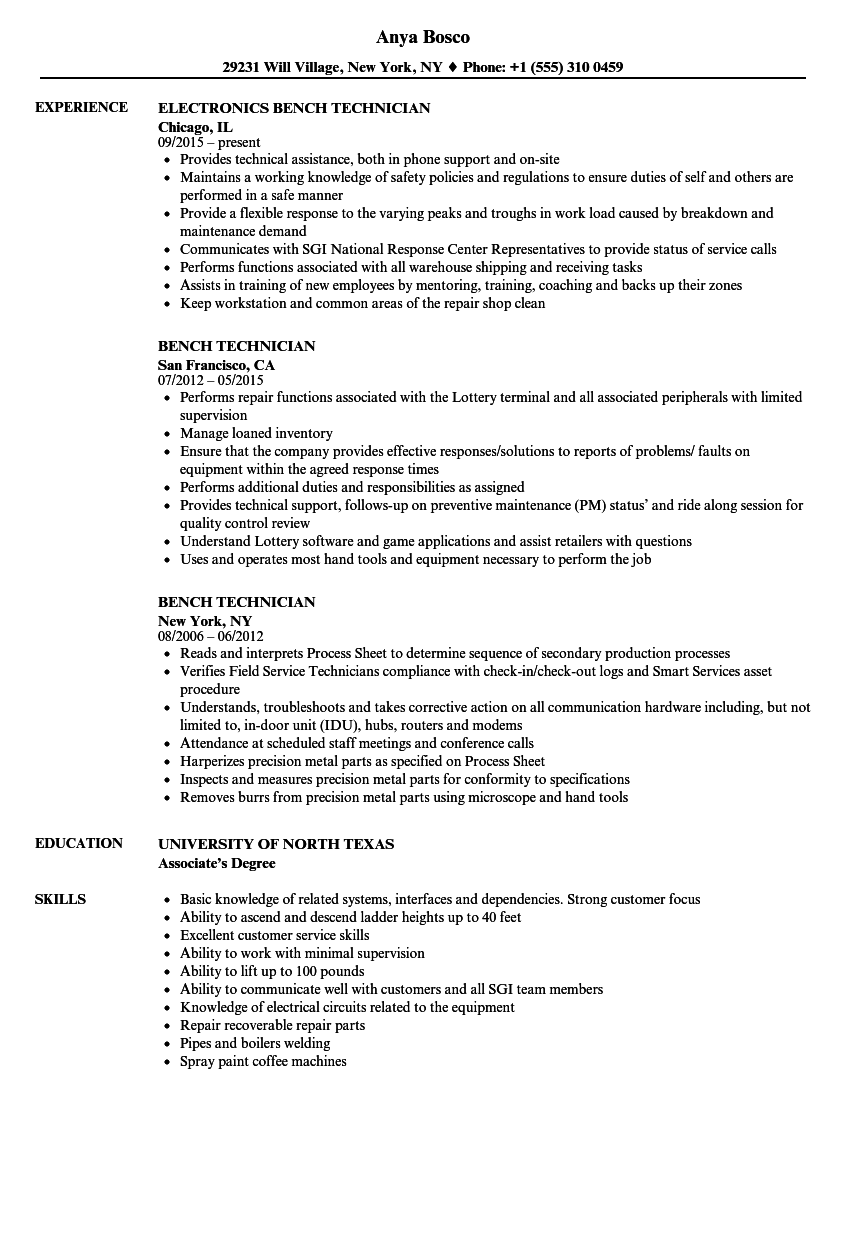 Bench Technician Resume Samples | Velvet Jobs