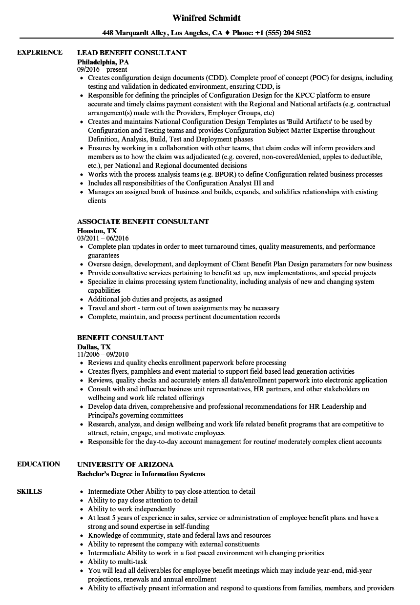 benefit consultant resume samples