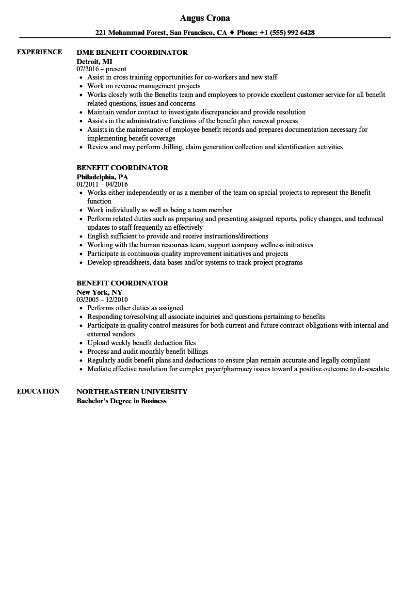 Benefit Coordinator Resume Samples Velvet Jobs