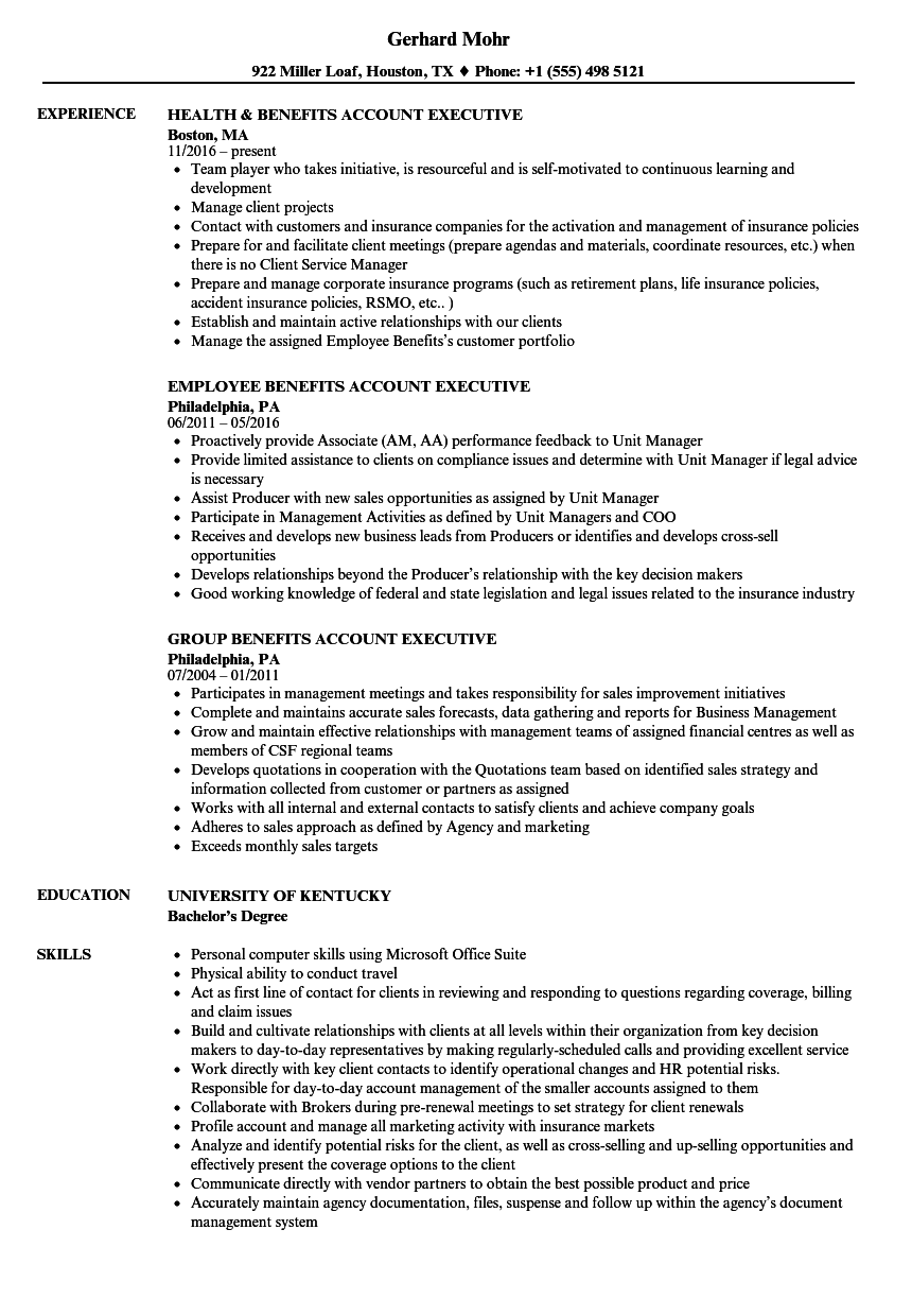 benefits account executive resume samples