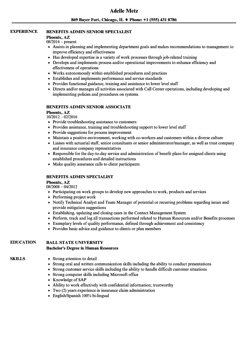 Benefits Admin Resume Samples | Velvet Jobs