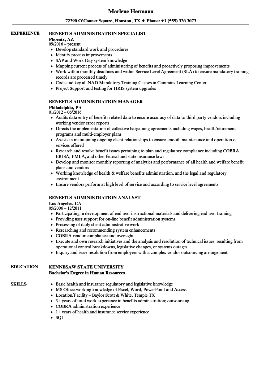 Benefits Administration Resume Samples | Velvet Jobs