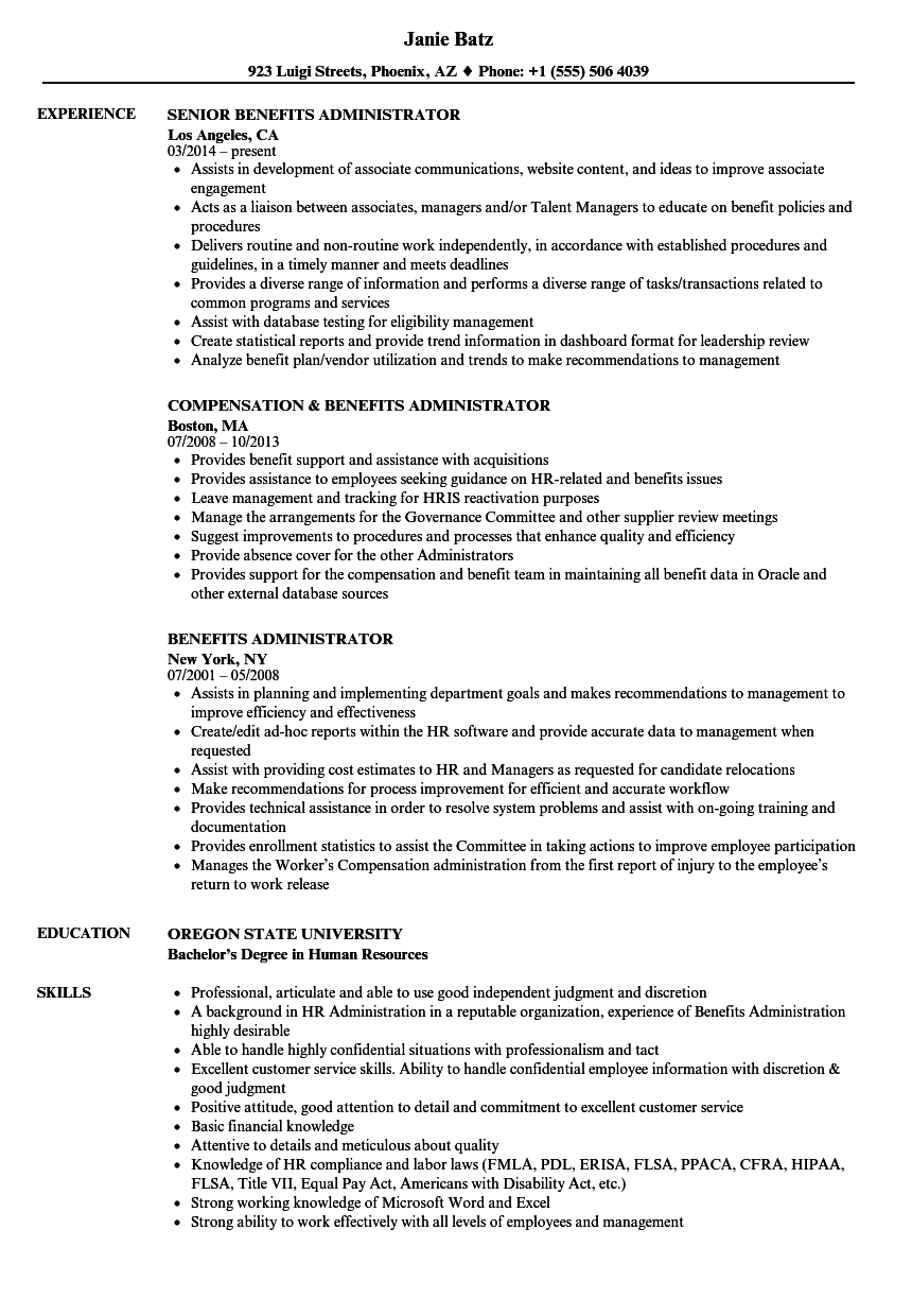 benefits administrator resume samples