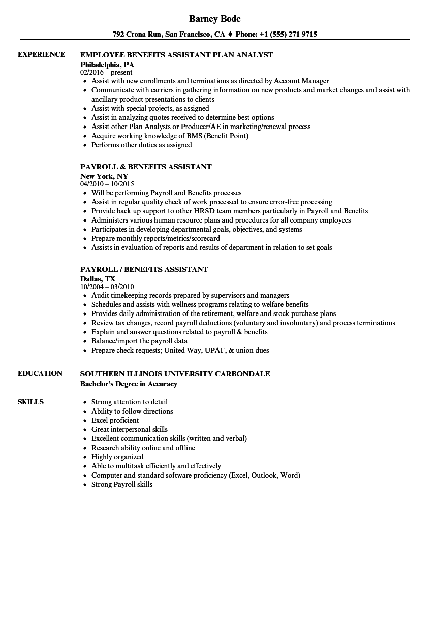 benefits assistant resume samples