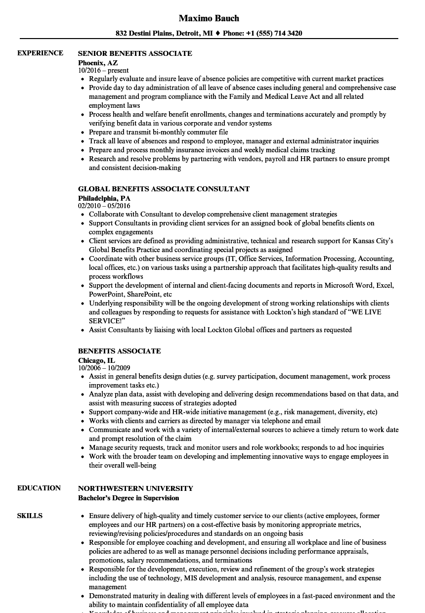 Benefits Associate Resume Samples | Velvet Jobs