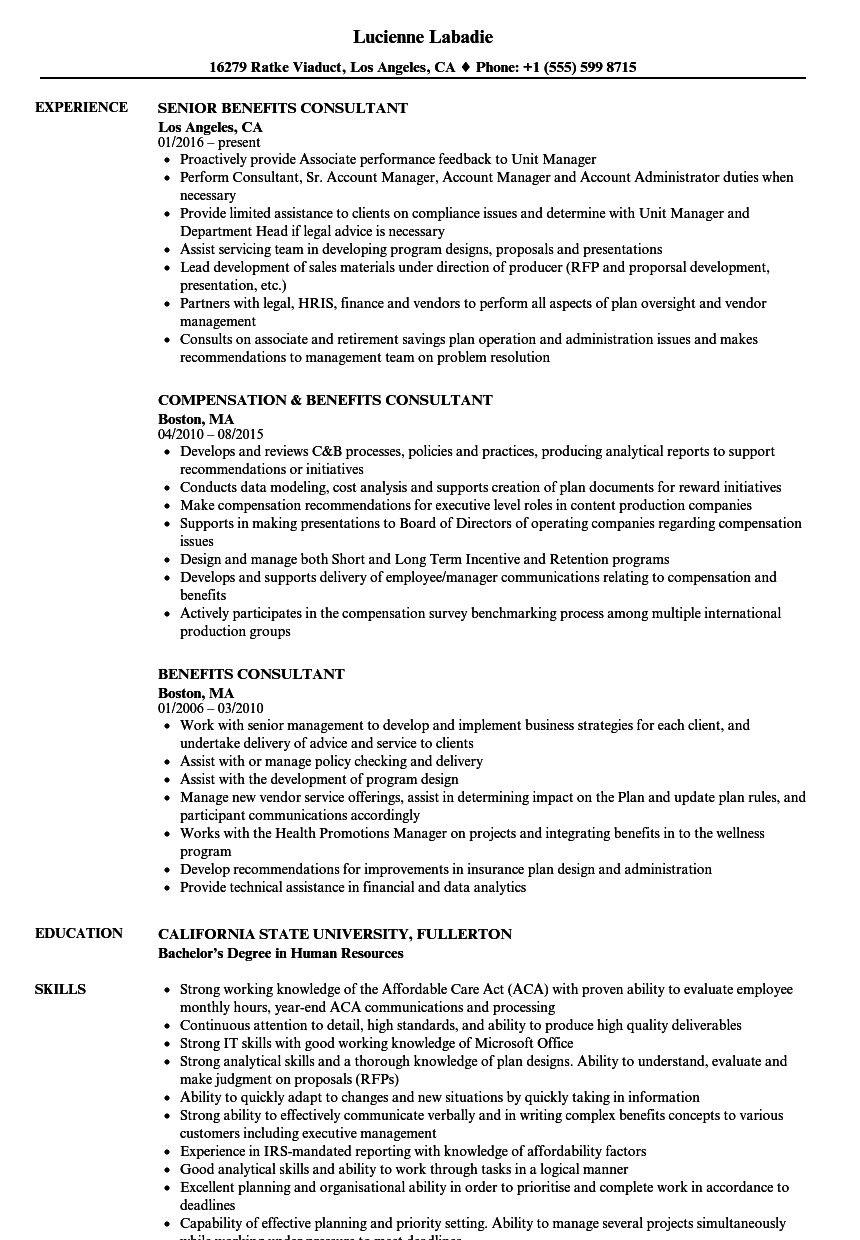 benefits consultant resume samples