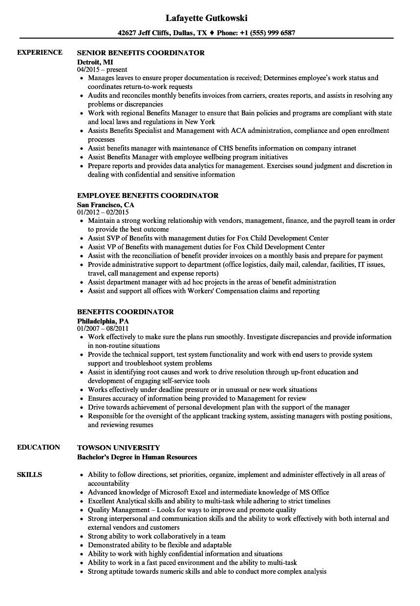 Download Benefits Coordinator Resume Sample As Image File