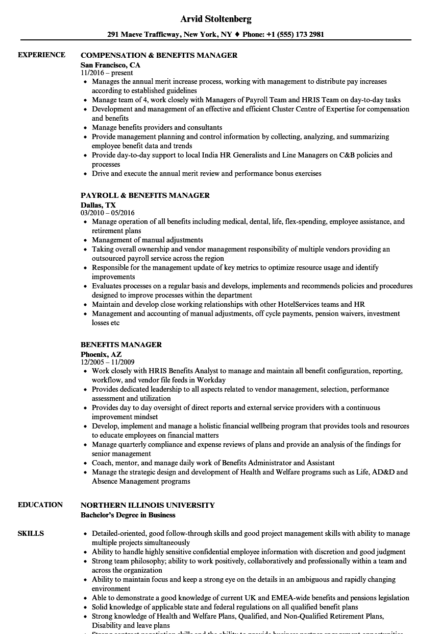 Benefits Manager Resume Samples Velvet Jobs
