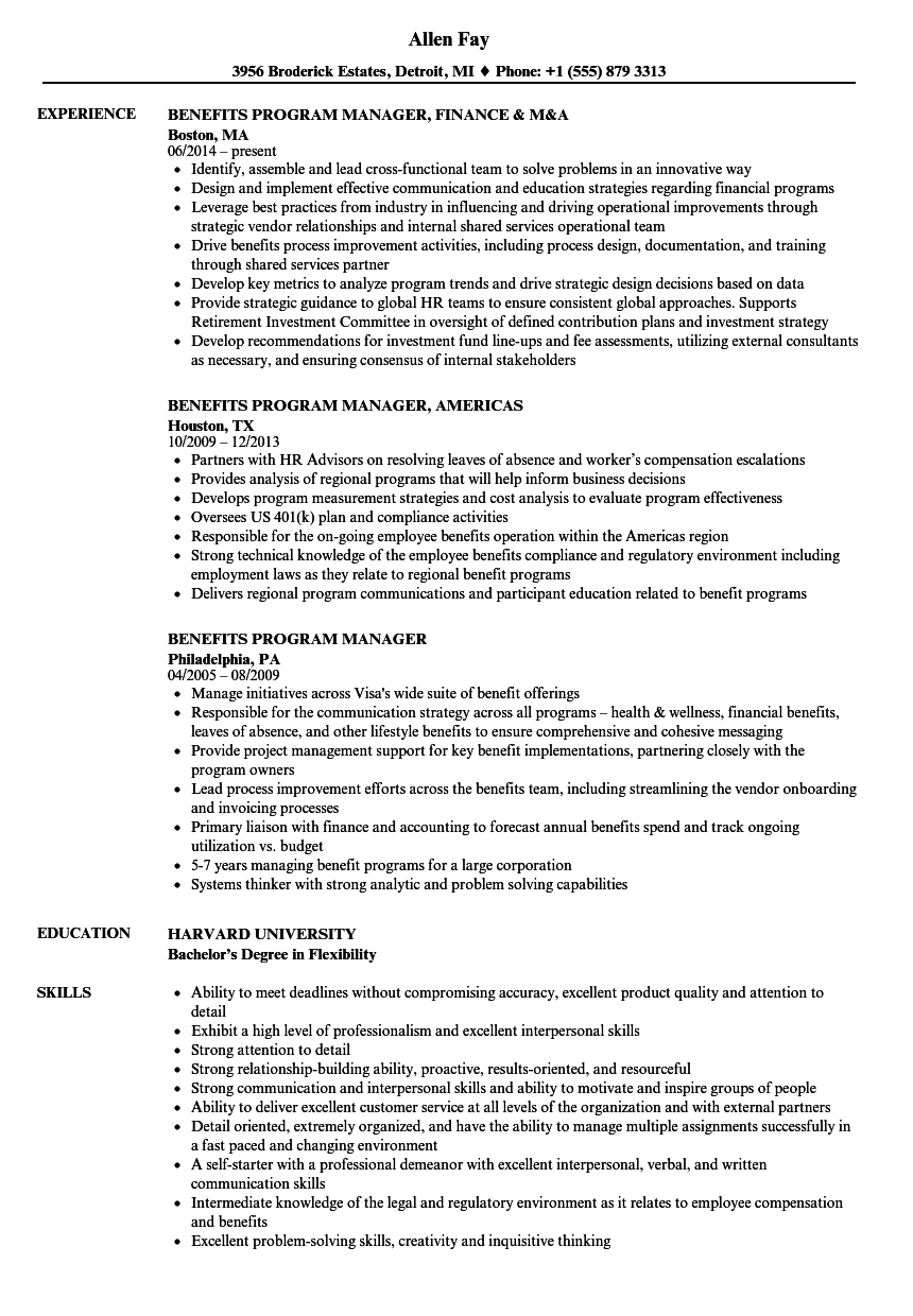 Benefits Program Manager Resume
