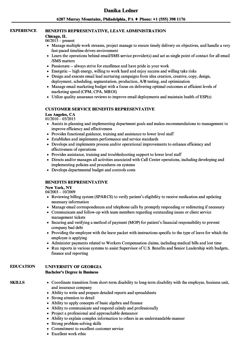 benefits representative resume samples