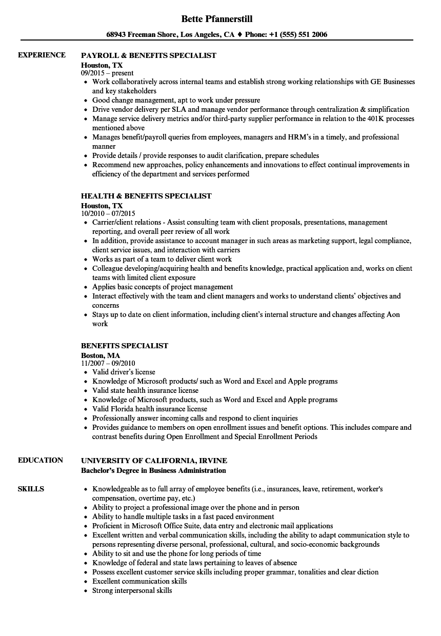 benefits specialist resume samples