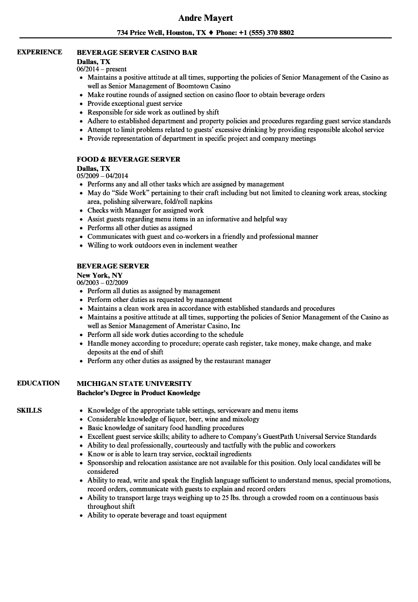 Beverage Server Resume Samples Velvet Jobs
