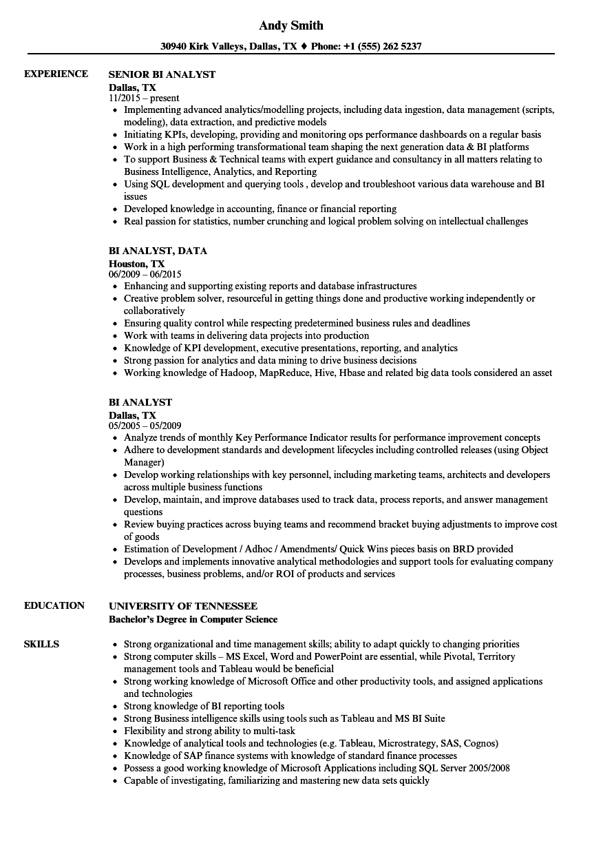 Bi Analyst Resume Samples Velvet Jobs