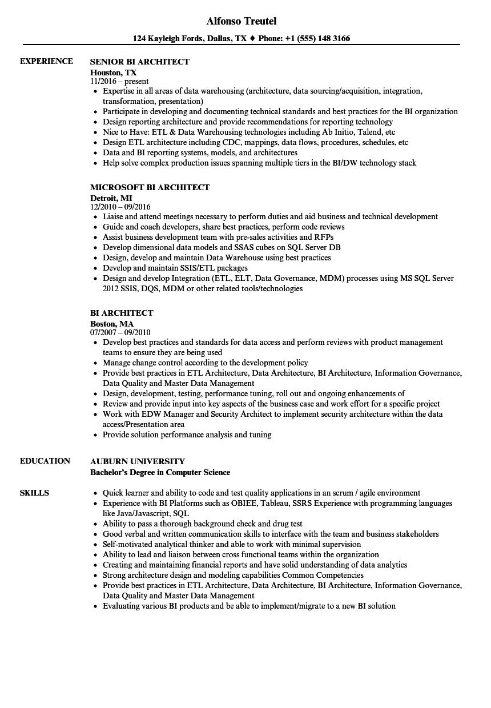 bi architect resume samples