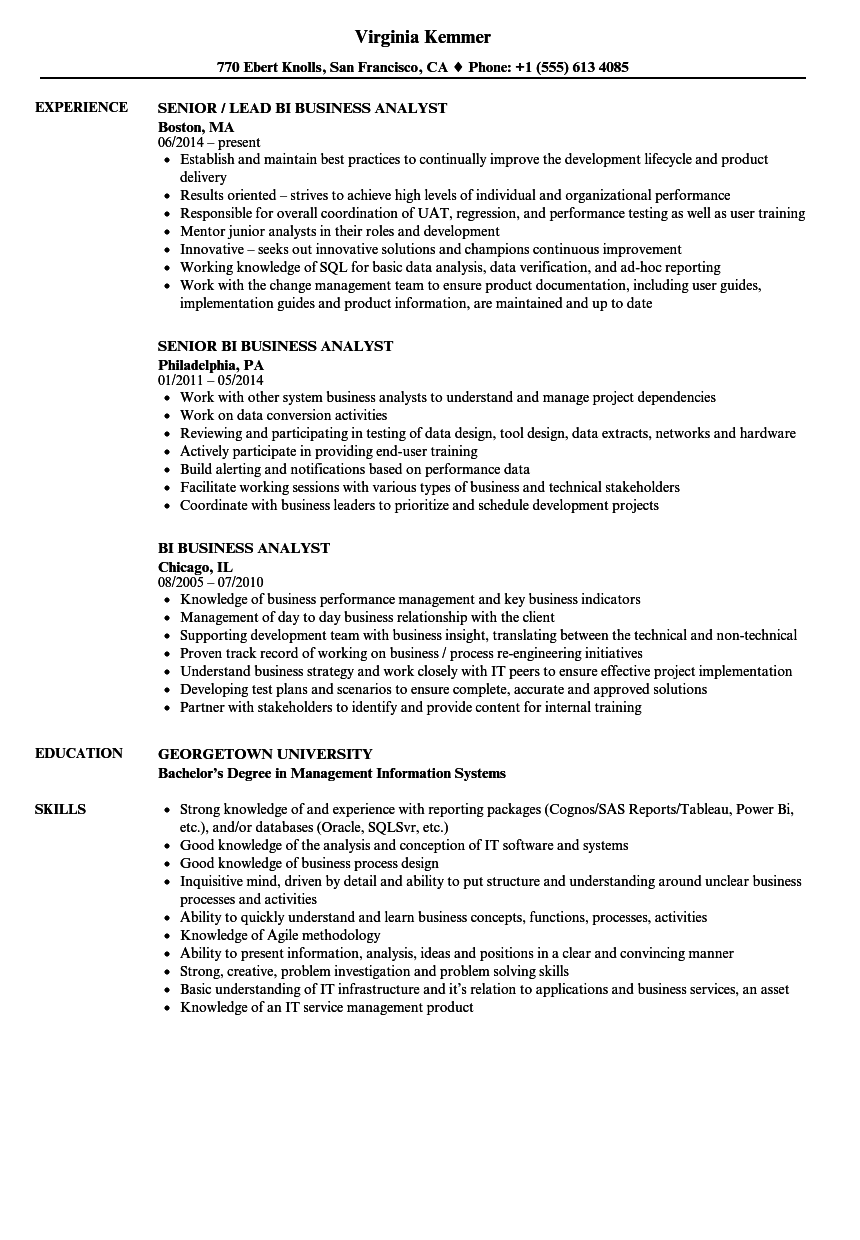bi business analyst resume samples velvet jobs