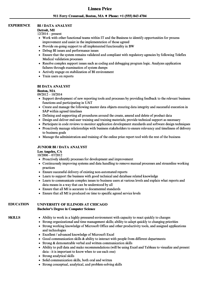 bi data analyst resume samples