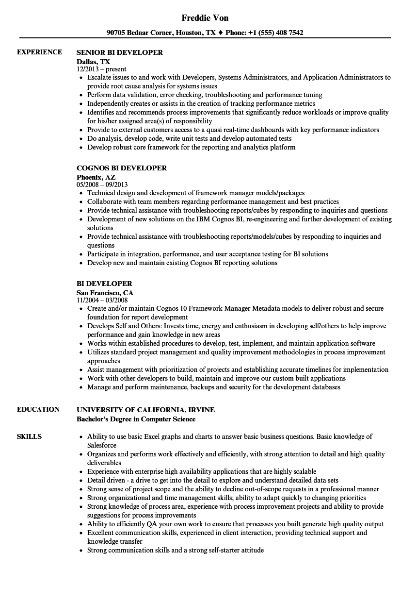 Bi Developer Resume Samples Velvet Jobs